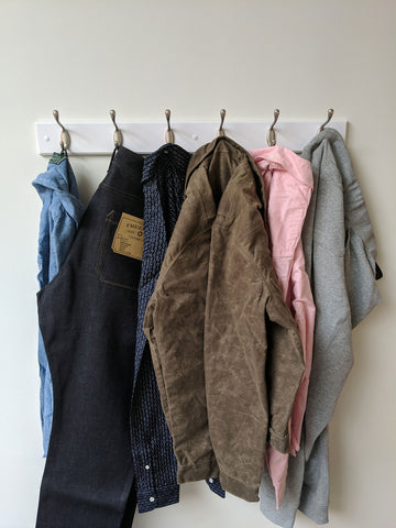 Clothes hanging on hooks