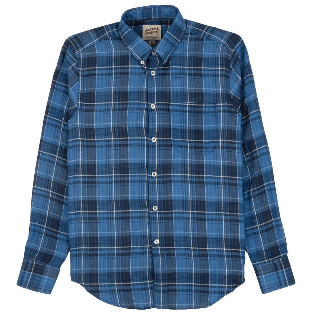 Easy Shirt in Dark Blue Double Faced Check
