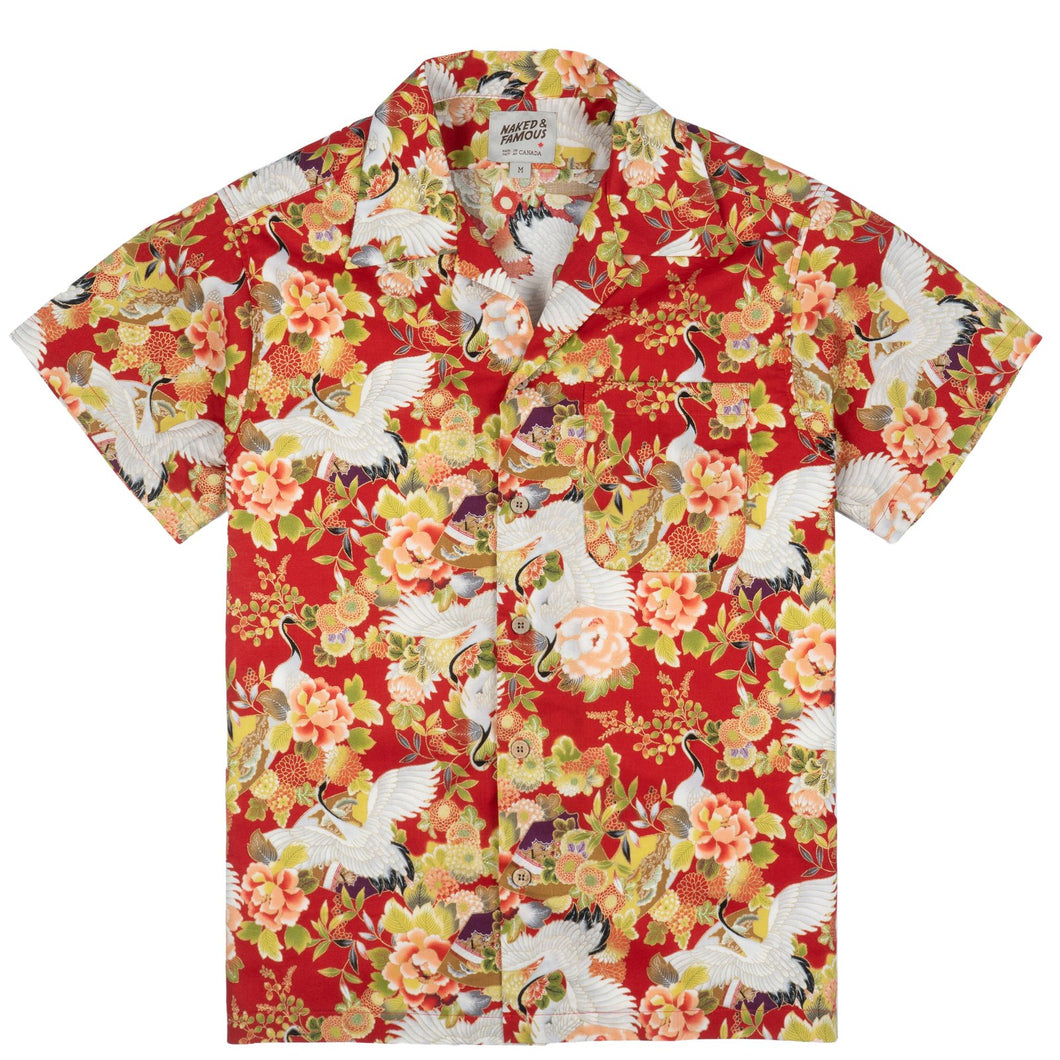 Aloha Shirt in Red Japan Cranes
