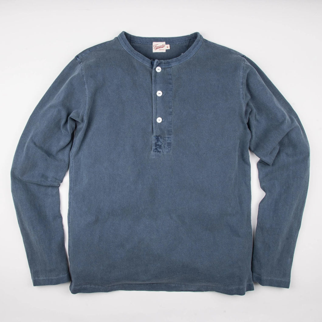 13 Ounce Henley in Faded Blue