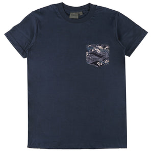 Pocket Tee - Navy + Japanese Waves