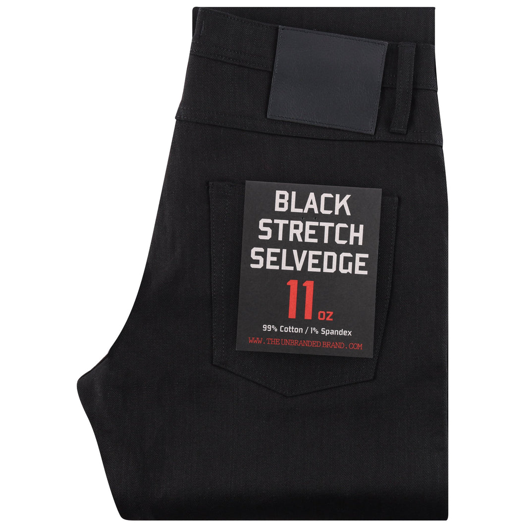 UB244 Tapered 11oz Solid Black Stretch Selvedge