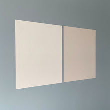 Load image into Gallery viewer, two benjamin moore peel and stick paint samples sticking on wall
