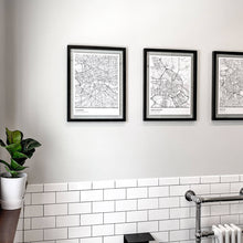 Load image into Gallery viewer, guest bath wall painted in benjamin moore horizon