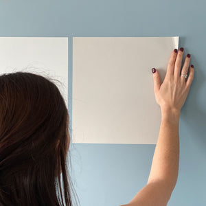 smooth corners of benjamin moore peel and stick paint sample on wall