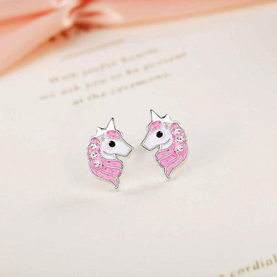 pink Crystal unicorn earrings