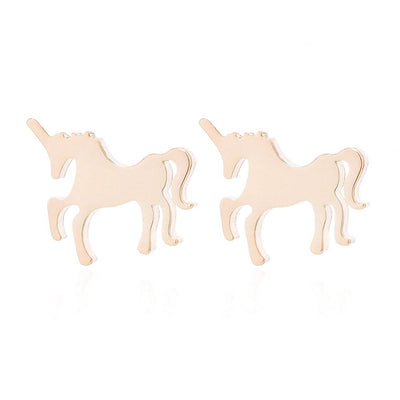 Real Gold Unicorn Earrings