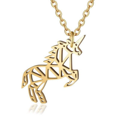 gold geometric unicorn necklace