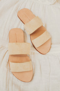 Beige Suede Leather Sandal Double