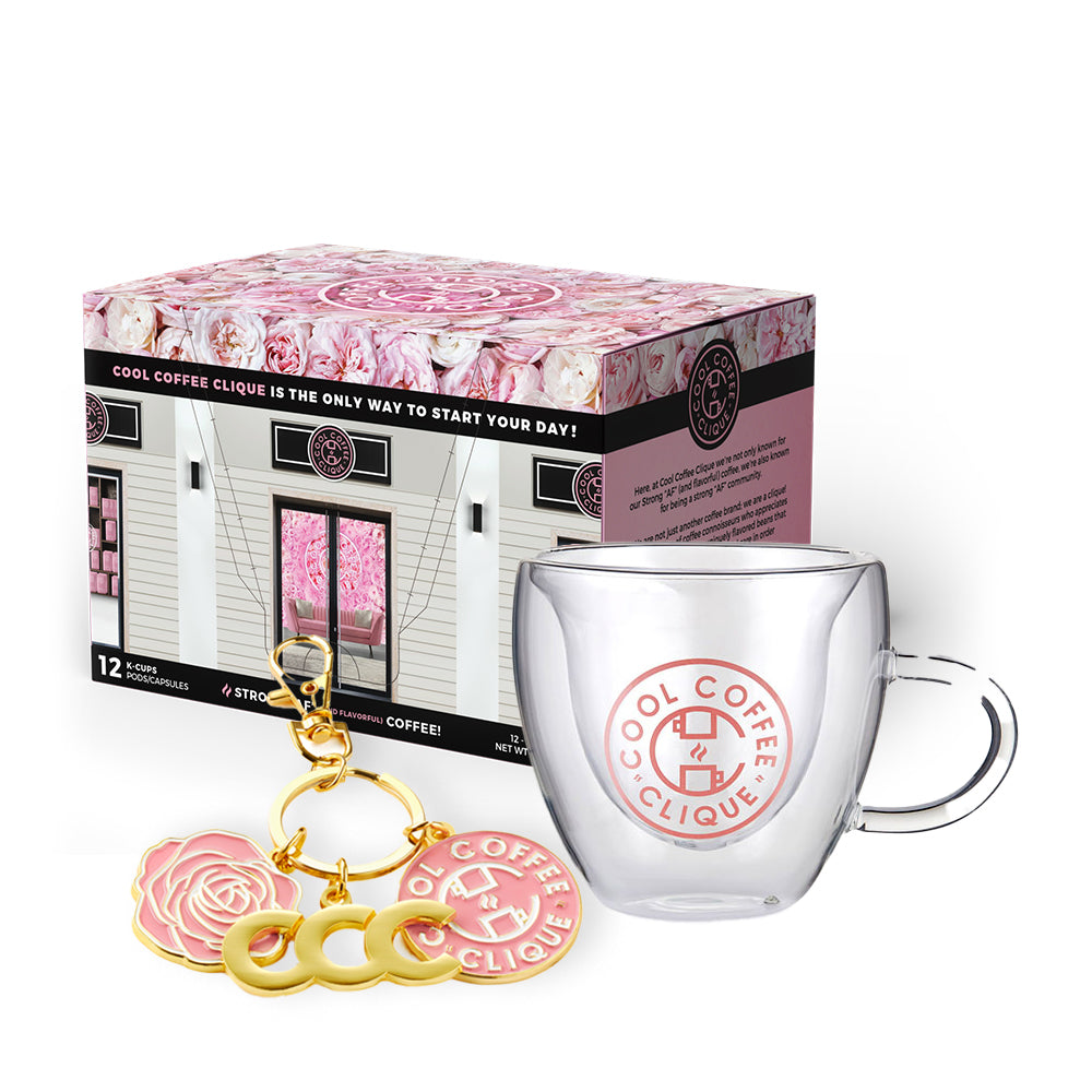 Cool Coffee Clique Premium Strong AF™ Coffee + Clearly I'm Classy Heart-Shaped Mug + #CCC Members Charm