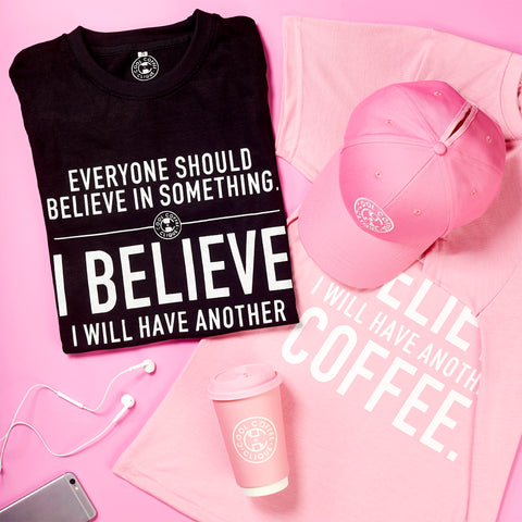 Cool Coffee Clique Believe T-Shirt & Reusable Cup Bundle with Sleeve Set (Pink)