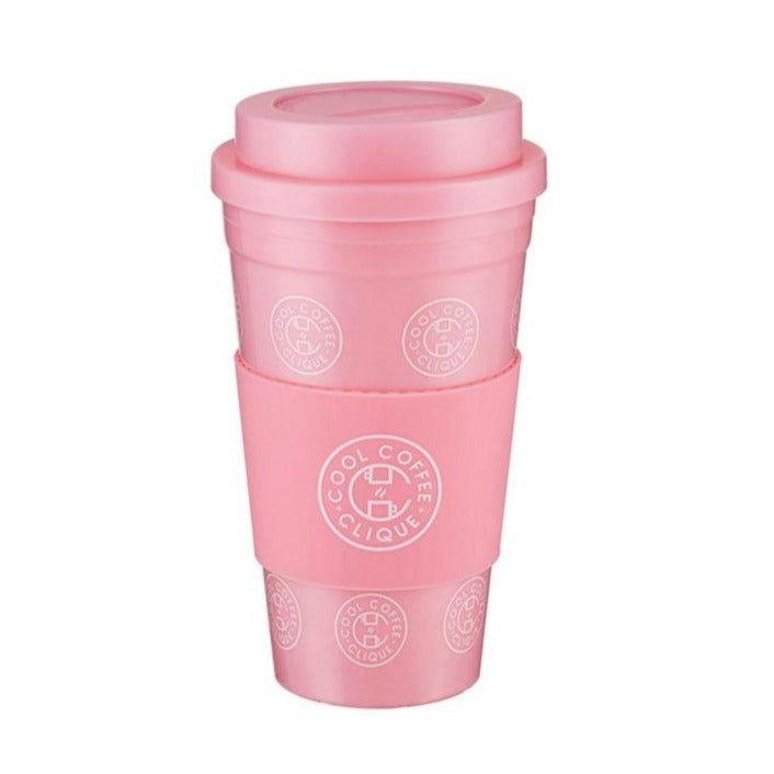 Cool Coffee Clique Reusable Cup & Cup Sleeve (Pink)