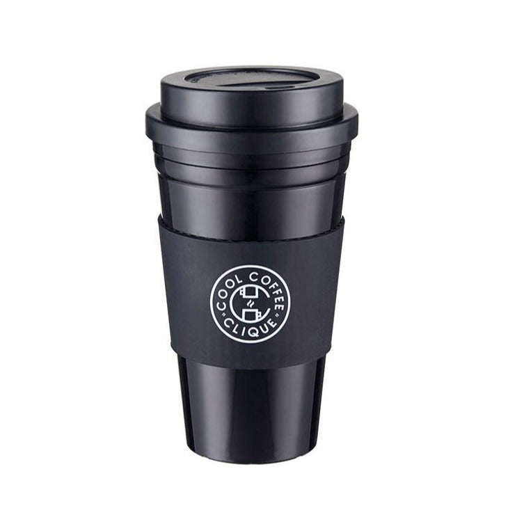 Cool Coffee Clique Reusable Cup & Cup Sleeve (Black)