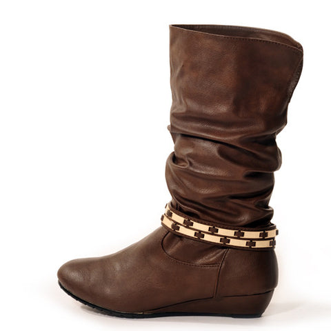 FLASHKODE Wedge Brown Stylish Winter Boots