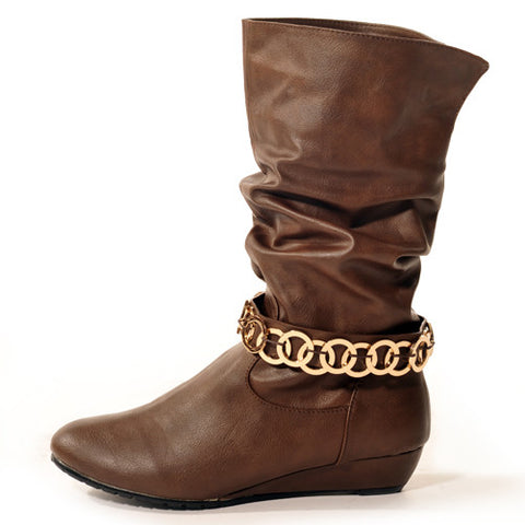 GLAM Wedge Brown Stylish Winter Boots