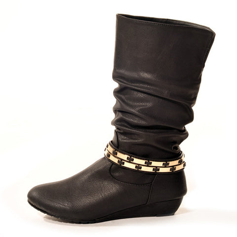 FLASHKODE Wedge Black Stylish Winter Boot