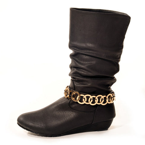 GLAM Wedge Black Stylish Winter Boot
