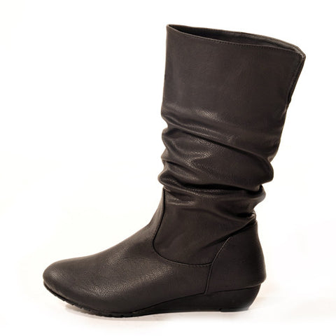 Wedge Black Stylish Winter Boots