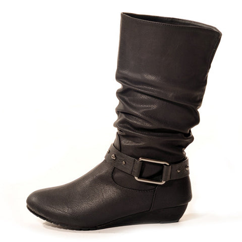 STOMP Wedge Black Stylish Winter Boots