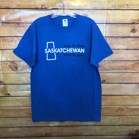"Saskatchewan ""Easy to Draw, Hard to Spell"" T-Shirt Blue"
