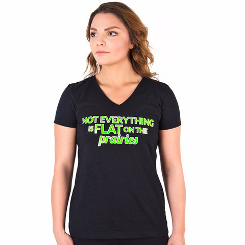 Not Everything is Flat on the Prairies T-Shirt Black & Green