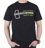 "Saskatchewan ""Easy to Draw, Hard to Spell"" T-Shirt Black"