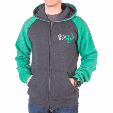 Green and Grey SASK Zip-up Hoodie