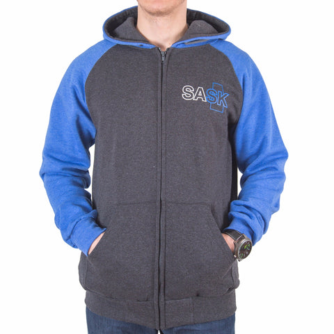 Blue & Grey SASK Zip-up Hoodie