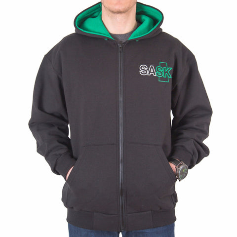 Black SASK Zip-up Hoodie