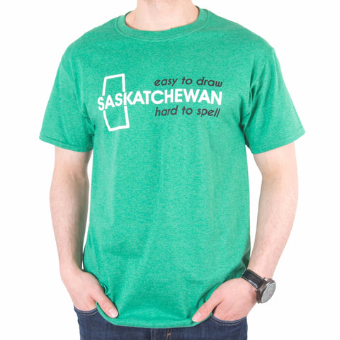 "Saskatchewan ""Easy to Draw, Hard to Spell"" T-Shirt Green"