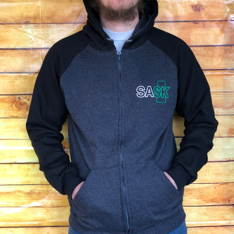 Black & Grey SASK Zip-up Hoodie