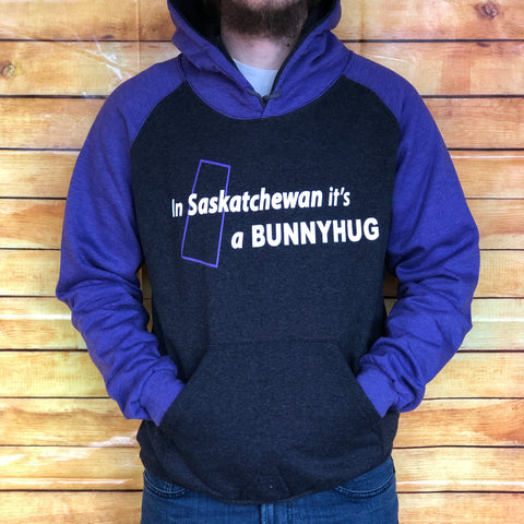 """In Saskatchewan it's a Bunnyhug"" Purple/Grey"