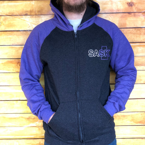 Purple & Grey SASK Zip-up Hoodie