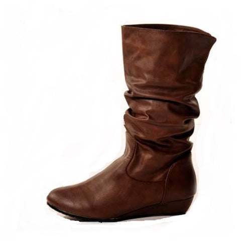 Wedge Brown Stylish Winter Boots