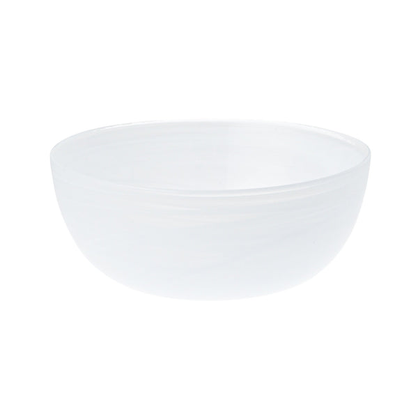 MARBLE GLASS BOWL MEDIUM WHITE