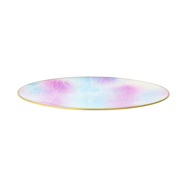 MIX MARBLE GLASS PLATE LARGE PINK x BLUE