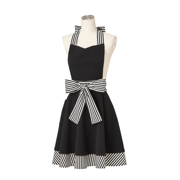 STRIPE RIBBON FULL APRON Black