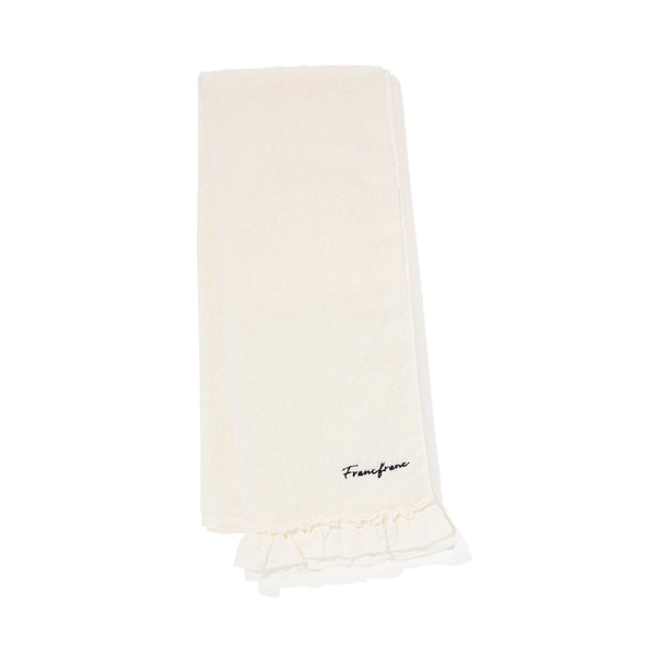 FRILLS FACE TOWEL White