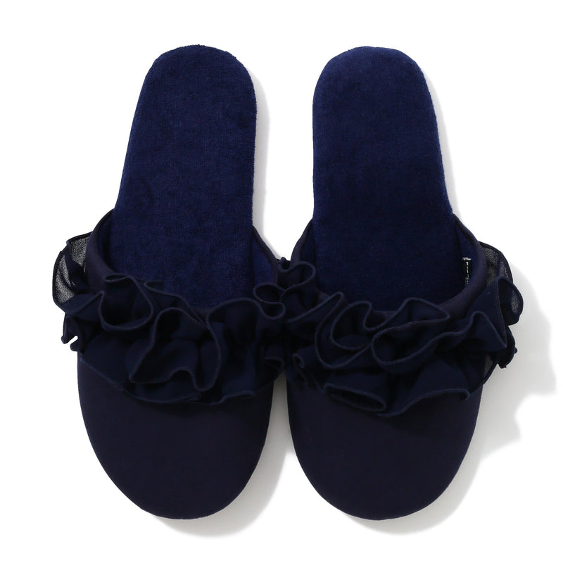 CHIFFON ROOM SHOES FRILL Navy