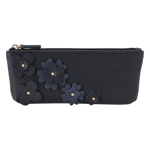 FLOWER Motif Pen Case Navy