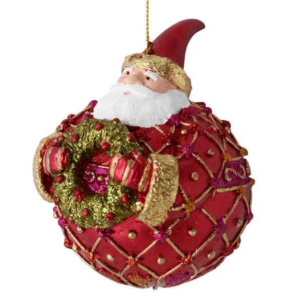 RESIN ORNAMENT BALL SANTA Red