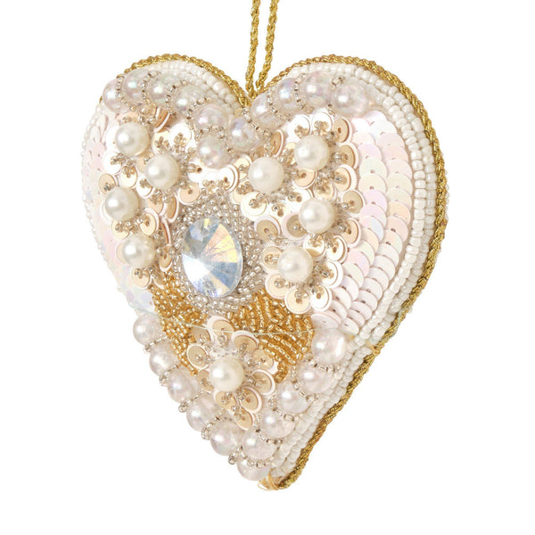 BEADS Ornament Heart WH