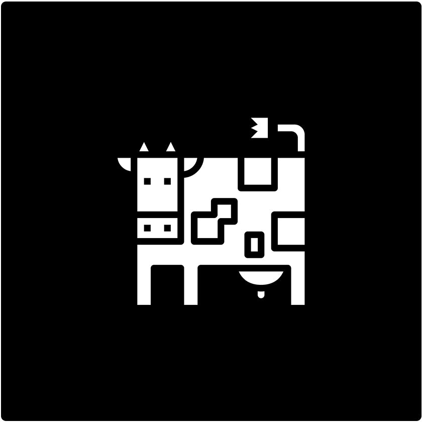 Logo of a white cow in the center with all black background