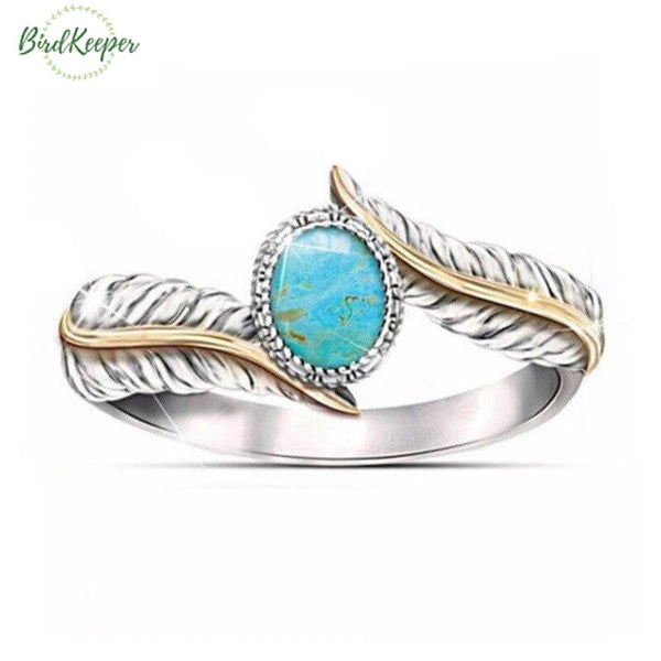 BAGUE PIERRE TURQUOISE DOUBLE PLUMES