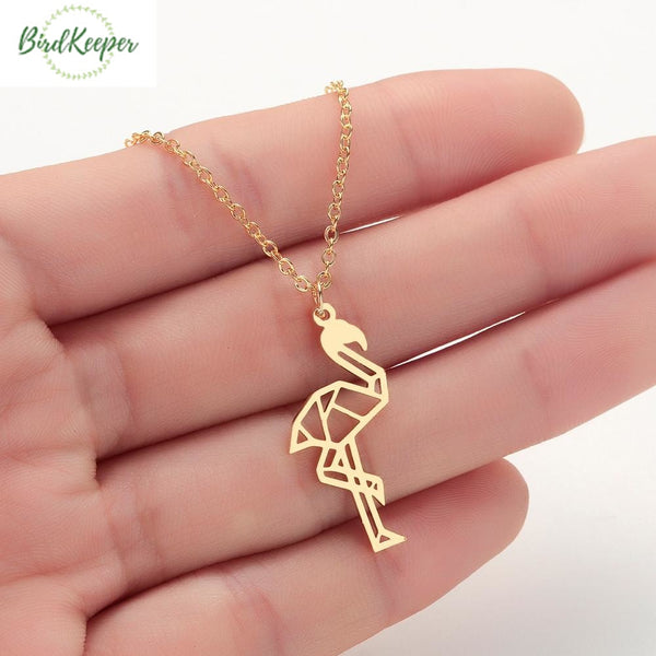 COLLIER FLAMANT ROSE ORIGAMI
