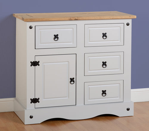Corona 1 Door 4 Drawer Sideboard in Grey
