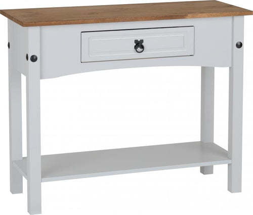 Corona 1 Drawer Console Table with Shelf in Grey