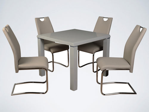 Clarus Grey Dining Set with Khaki Chairs