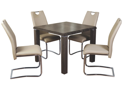 Encore Dining Table in Charcoal with Khaki Chairs