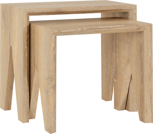 Finley Nest of 2 Tables in Medium Oak